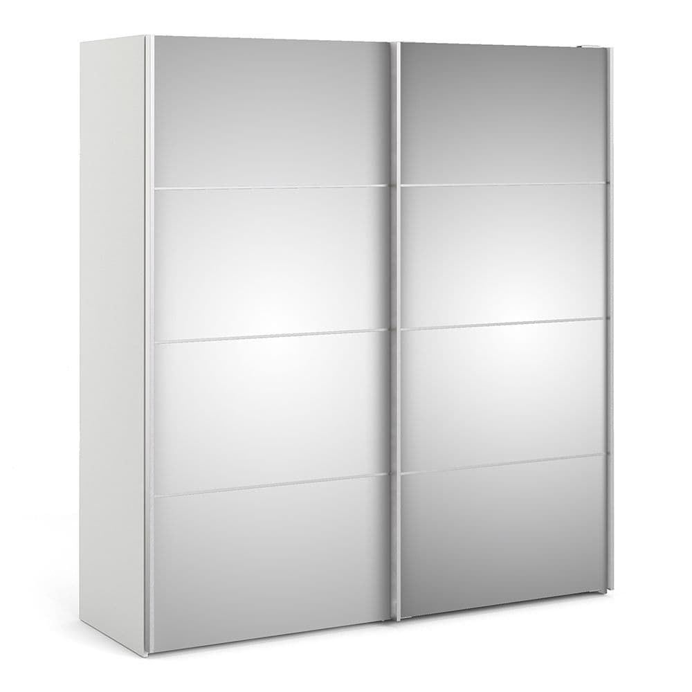 Valerian Sliding Wardrobe 180cm in White with Mirror Doors with 2 Shelves in White and Mirror